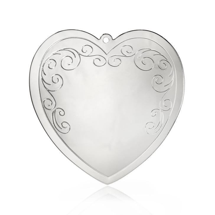 Swirl Silvertone Heart Ornament