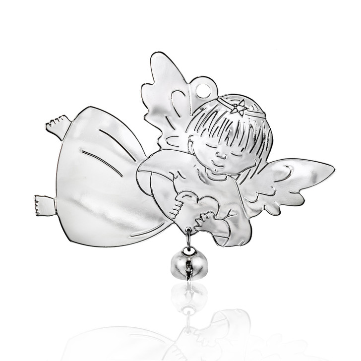 Silvertone Angel with Bell Ornament
