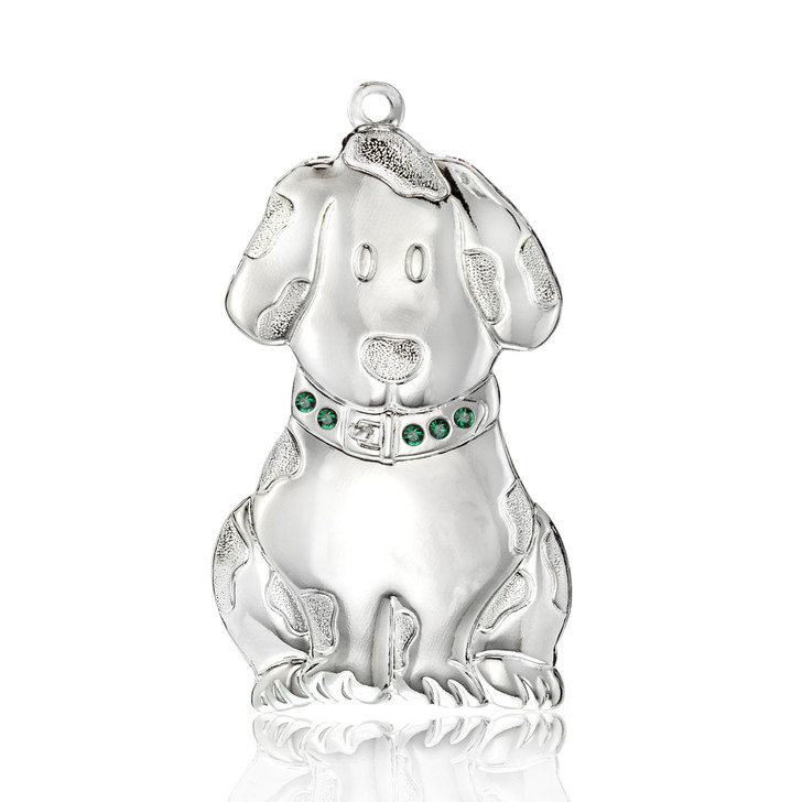 Silvertone Dapped Dog Ornament
