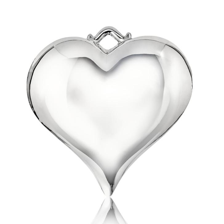 Puff Silvertone Heart Ornament