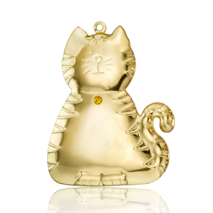 Goldtone Dapped Cat Ornament with Topaz Crystal