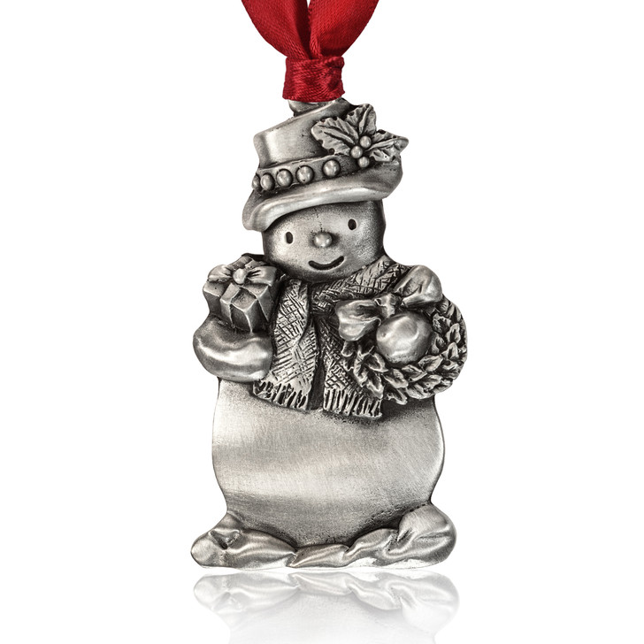 Genuine Pewter Holiday Snowman Ornament