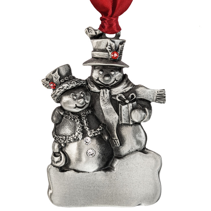 Genuine Pewter Holiday Snow Couple Ornament
