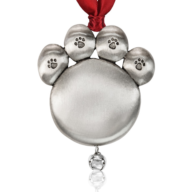 Dog Paw Genuine Pewter Jingle Bell Ornament