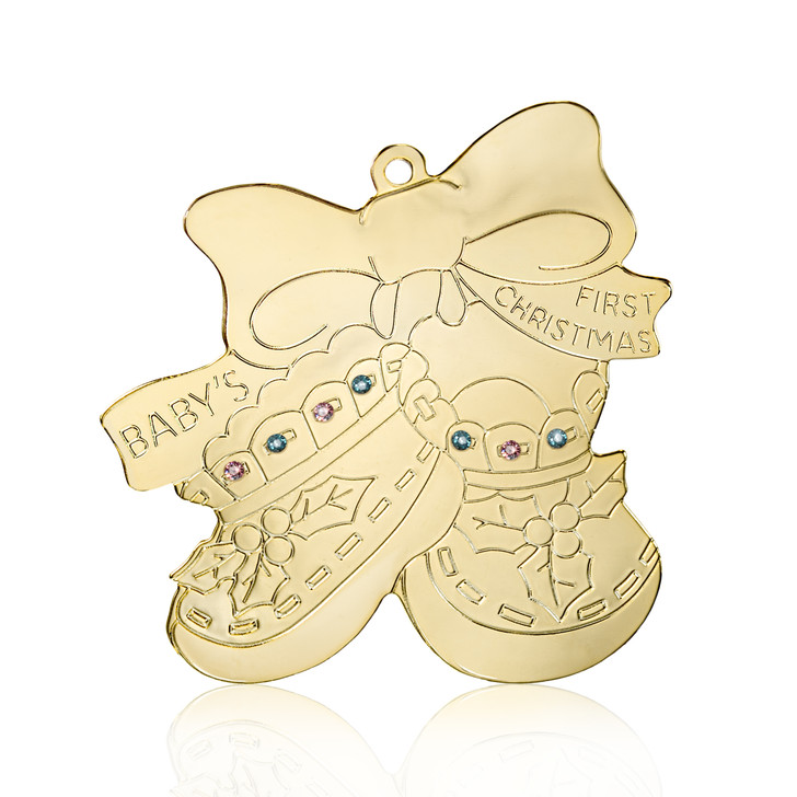 Baby's First Crystal Christmas Booties Goldtone Ornament