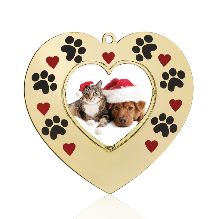 Hearts and Paws Goldtone Heart Photo Frame