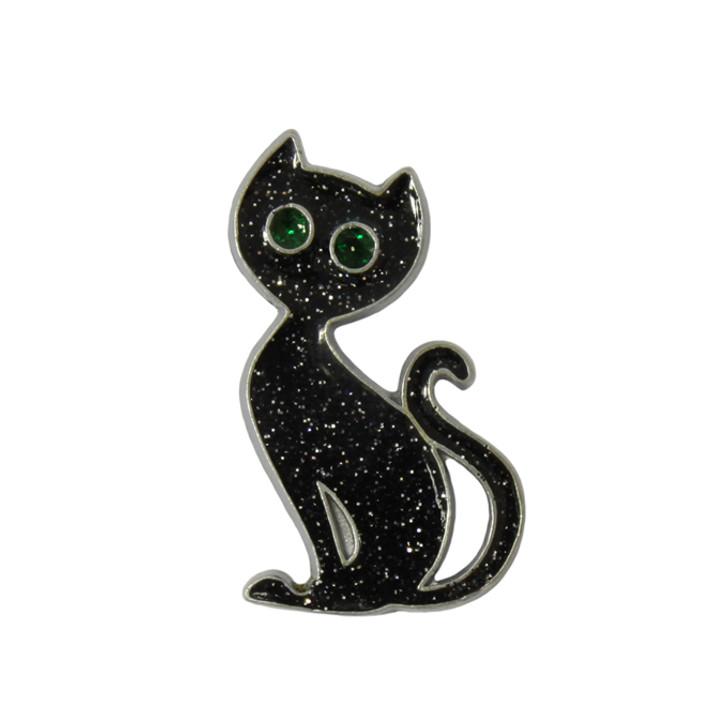 Fancy Black Cat Lapel Pin