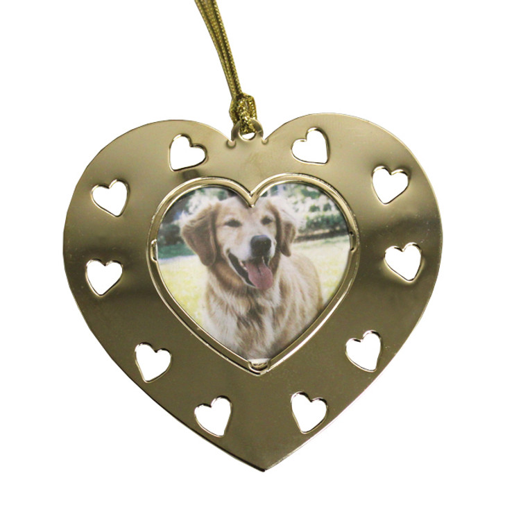 Goldtone Heart Photo with Heart  Cutouts