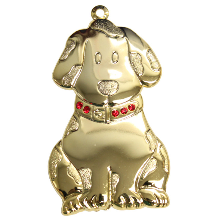 Goldtone Dapped Dog Ornament with Red Crystals