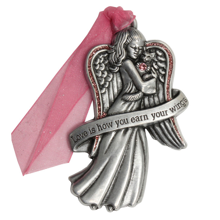 Love Angel with Cat Christmas Ornament