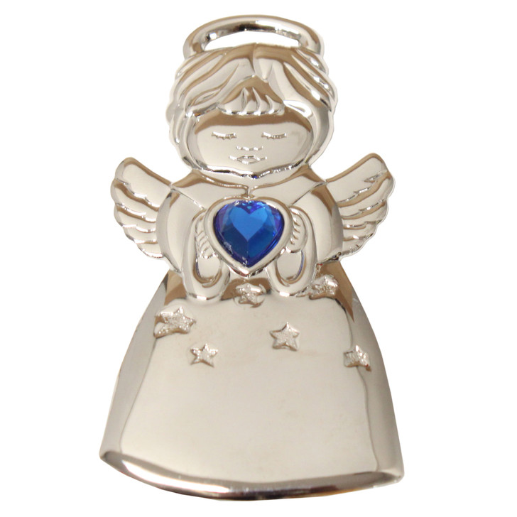 Silvertone Angel with Blue Stone and imprint