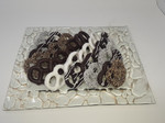 Rectangle Gold Pebble Glass Tray with Pretzels