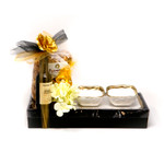 Classic Touch three ceramic bowls with tray