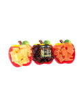 Three Section Apple TRay Filled With Dried Fruit And A Bottle Of Honey
