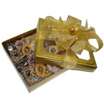 Gold box of Chocolate Covered Pretzels