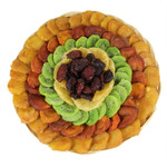 Large Round Wicker Platter filled with Dried Fruit