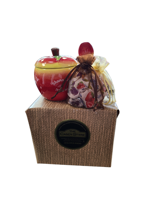 Ceramic Apple Honey Dish With Spoon and Candy