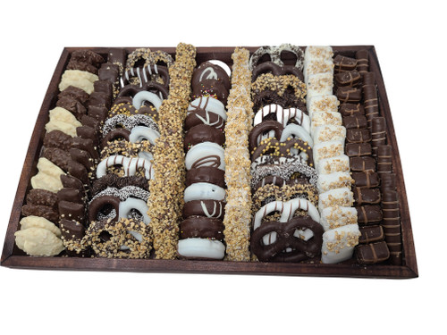 Deluxe Wooden Gift Tray Filled With Truffles Crunches And Pretzels
