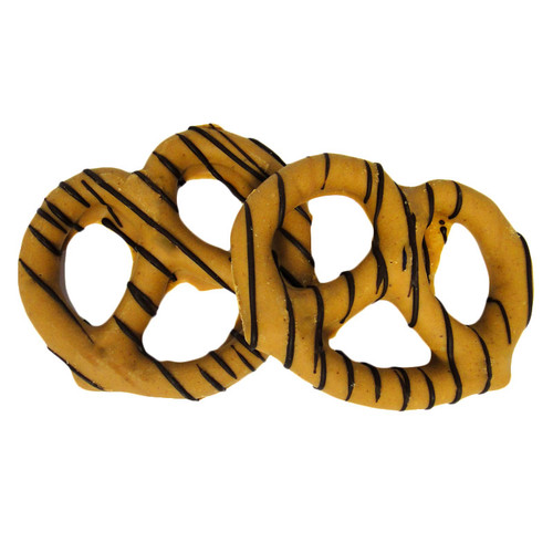 Peanut Butter Chocolate Covered Pretzel with Dark Chocolate String Drizzle