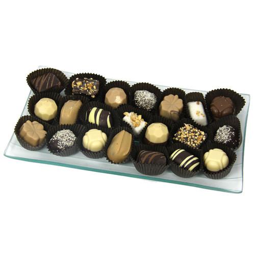 Glass Tray with Chocolate Truffles