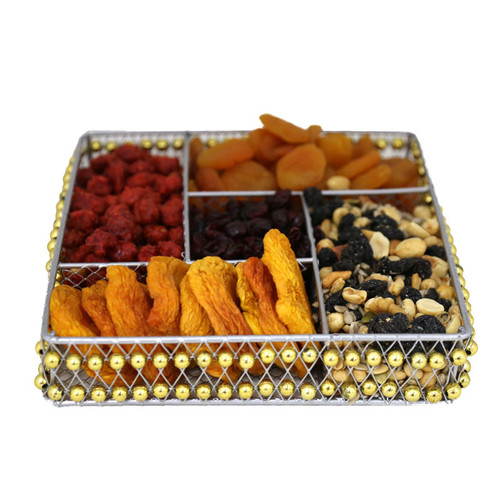 Beaded Metal Square Sectional with Dried Fruit and Nuts