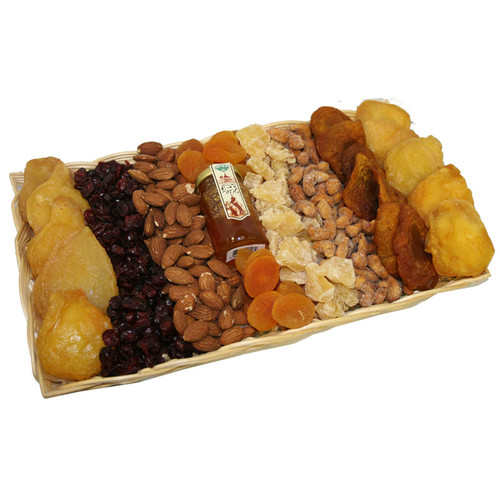 Large Wicker Platter Filled with Dried Rosh Hashanah Fruit, Nuts, and Honey