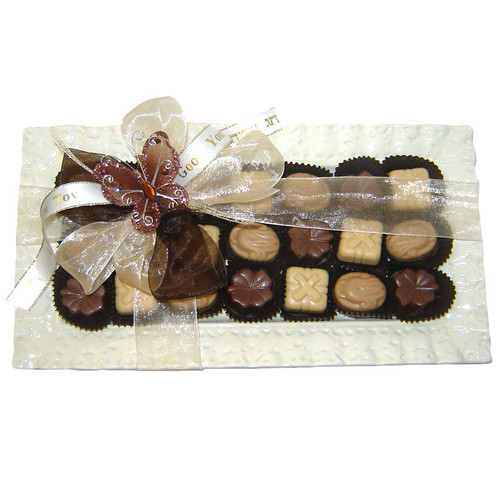 Rectangle Ceramic Lace Dish filled with Chocolate Truffles