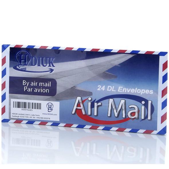 Classic style Air Mail/Par Avion Chevron edge DL size Gummed Letter Envelopes