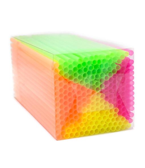 250 Flexi Neon Glow Drinking Straws