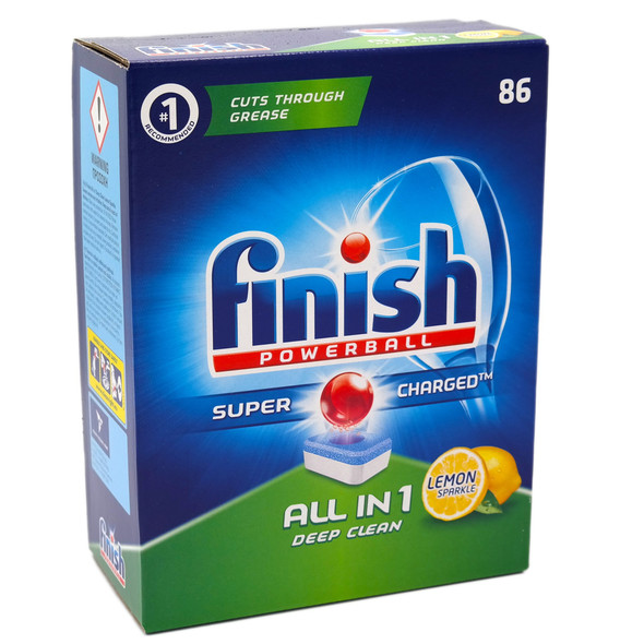 86 Finish Powerball Lemon Sparkle All in One Dishwasher Detergent