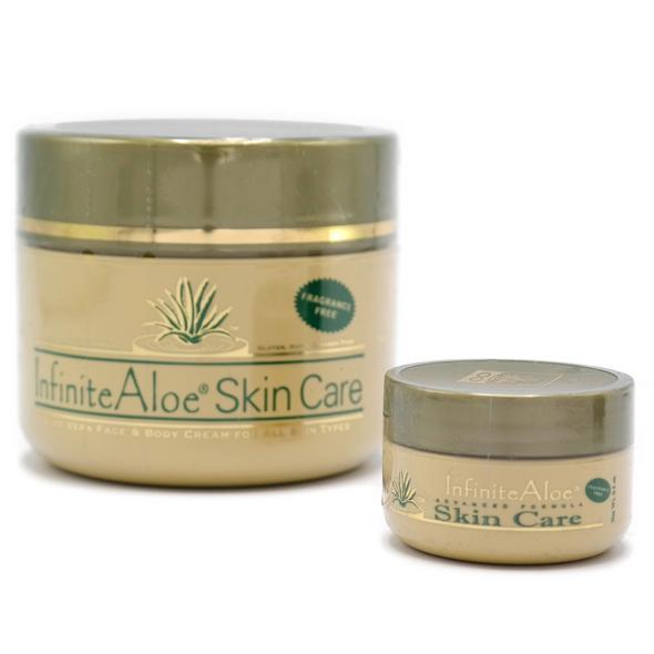 InfiniteAloe Fragrance Free Skin Care Pack 1 x 8oz Jar + 1 x .5oz Travel pot