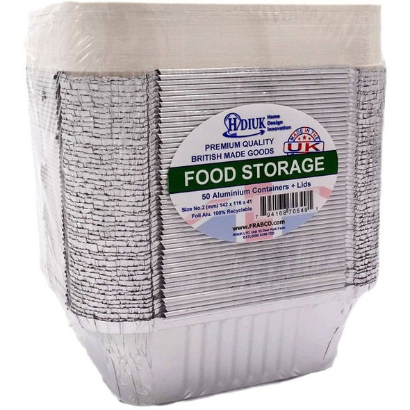 50 Aluminium foil food containers, Freezer safe (6A Size 197 x 105 x 49mm)