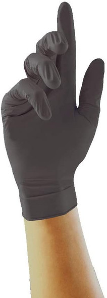 UNIGLOVES Nitrile Examination Gloves, Color Black Pack of 100 Gloves Size Large/9