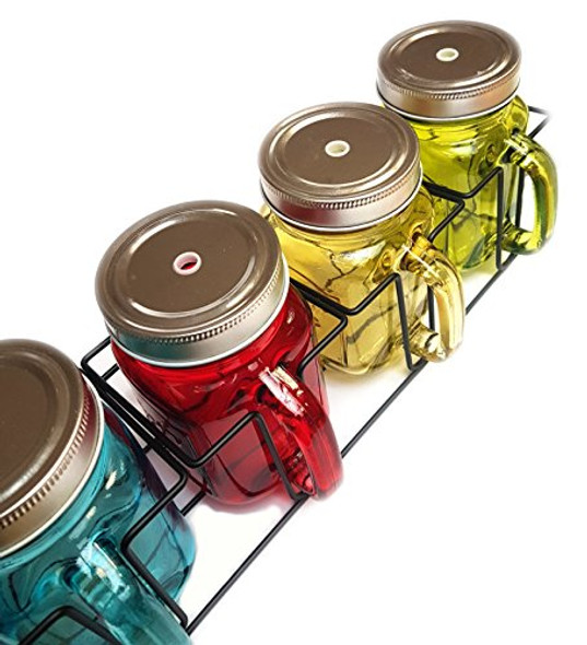Set of 4 Coloured Jam Jar Drink Glass Mason Jars with Straws in Carry Rack