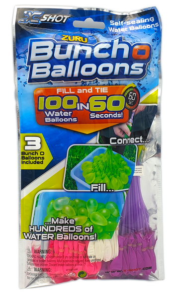 Zuru 3 Pack Bunch O Balloons Quick Fill Water Balloons (Pink White Purple)