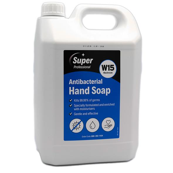 Super Professional W15 Washroom Antibacterial Hand Soap 5 Litres