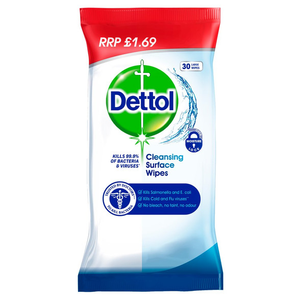 Dettol Cleansing Surface Wipes 30 - £1.69 PMP