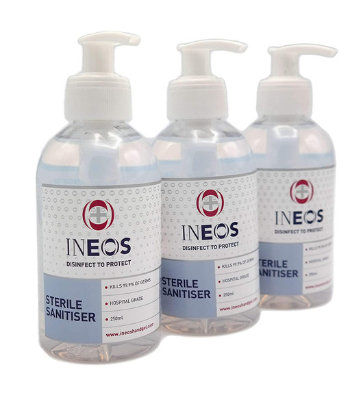 3 Pack INEOS Hospital Grade 75% Alc Hand Sanitizer Hand Gel 250ml