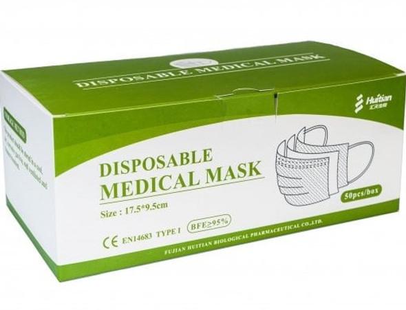 Pack of 50 Disposable Medical Face Covering Masks EN14683 Type 1
