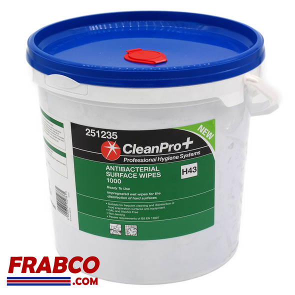 CleanPro+ Antibacterial Surface Wipes 1000 Dispenser Tub H43