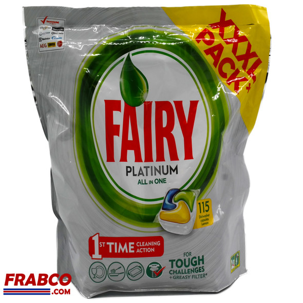 Fairy Platinum All in One XXXL Pack 115 Lemon Dishwasher Capsules