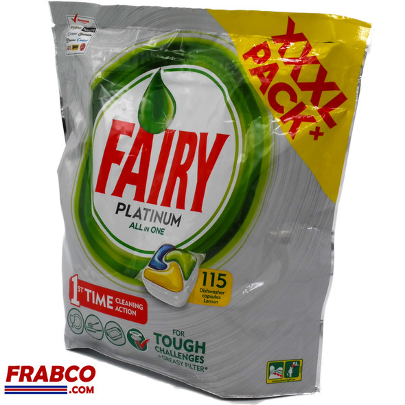 Fairy Platinum All in One XXXL Pack 115 Lemon Dishwasher Capsules