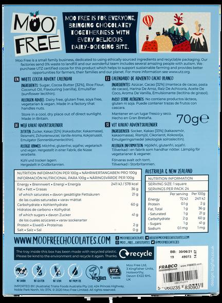 Moo Free 70g White Chocolate Advent Calendar - Dairy Free, Gluten Free, Soya Free, Vegetarian & Vegan