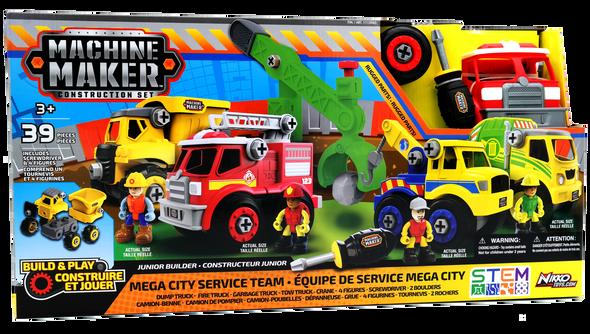 Machine Maker Construction Set Junior Builders Mega City Service Team 39 Piece Set (3+ Years)