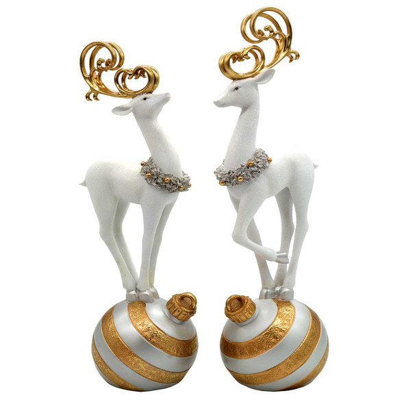 Table Top Christmas Standing Deer Ornament Set Of 2 20 Inch (51 cm)