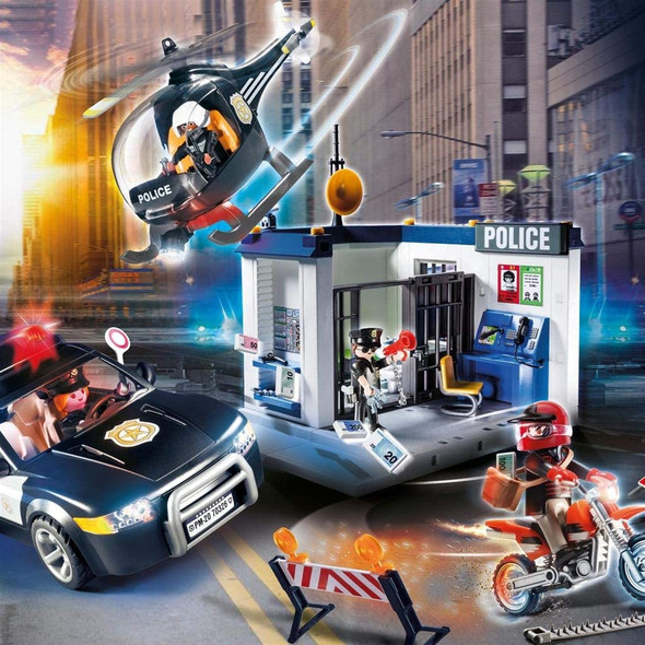 Playmobil 70326 Police Action Station Play Set with Helicopter & Car