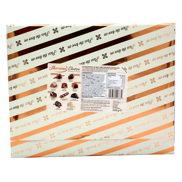 Thorntons Classic Gift Wrapped Collection Milk, Dark & White Chocolate Box 449G