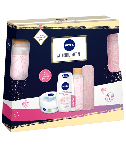 Nivea Wellbeing Gift Set With Towel & Waterbottle