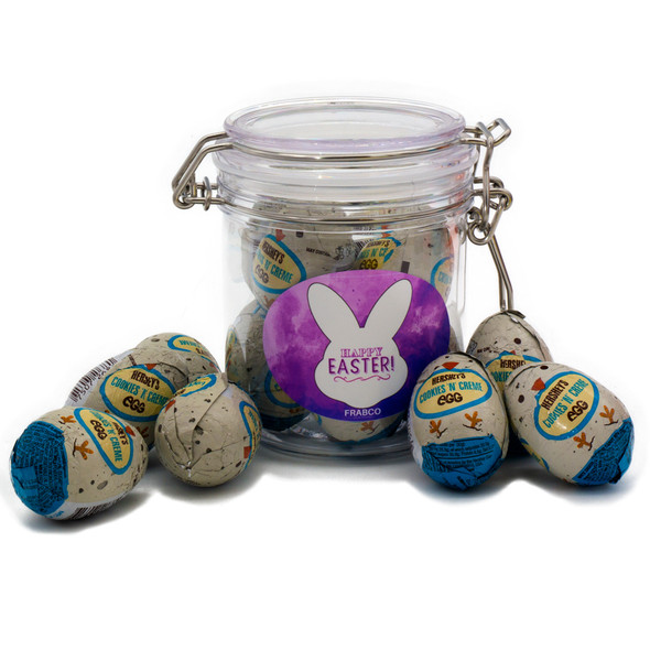 Easter Chocolate Special. Clasp Jar of Cookies 'N' Creme White Chocolate Eggs 272g - USA