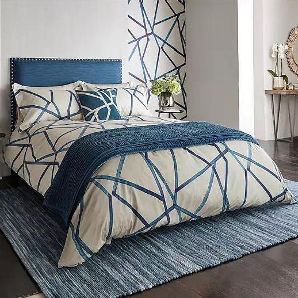 Harlequin 300 Thread Count Cotton Sateen 5 Piece Superking Size Bed Set, Sumi Indigo
